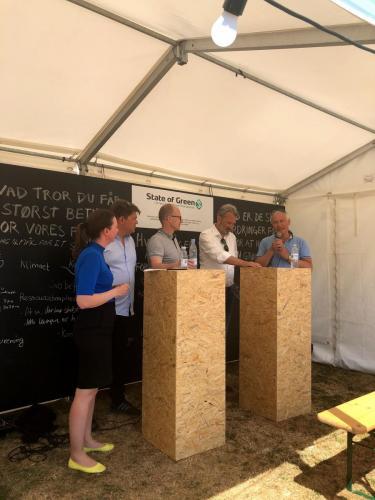 Debat om biogas i transport hos Drivkraft Danmark under Folkemødet 2018. Foto: Drivkraft Danmark